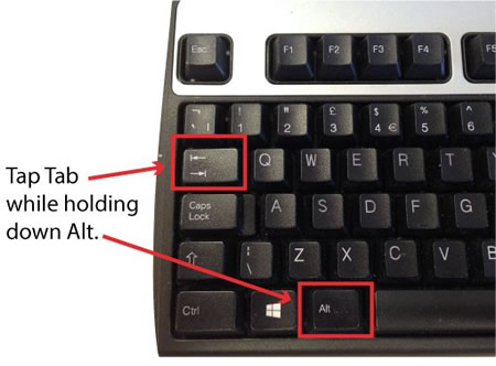 Picture of Windows keyboard with Alt and Tab keys highlighted