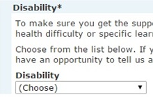 disability drop-down list from the registration process