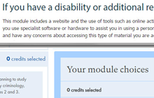 if you have a disability section in the module descriptions